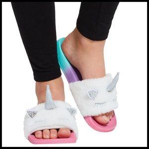 New! Fabkids Unicorn Fur slides Size 13/1